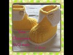 Tuto chaussons de bébé 0/3mois au tricot 2ème édition - YouTube