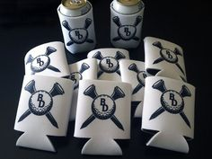 "Golf outing giveaways - personalized drink holders (commonly known as ""koozies"")."