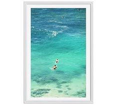 "Paddling to the Waves Framed Print by Lupen Grainne, 28x42"", Ridged Distressed Frame, White, Mat"