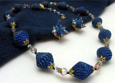 Vendome Necklace Earring Set Faceted Glass Goldtone Caps Long 25 Blues Pinks   eBay