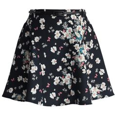 Chicwish Whimsical Flowers A-line Paneled Skirt in Black (40 CAD) ❤ liked on Polyvore featuring skirts, black, black a line skirt, a line skirt, short black skirt, floral print a-line skirt and black flower skirt