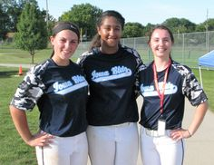 Out of hundreds of players from seven states, three players in the Girls ASA 16U Class A Northern Nationals are from right here in Story County. They are, from left, Skylar Rigby, 14, of Huxley; Karlie Hill, 14, of Ames; and Lindsey Mescher, 16, of Ames. Photo by Marlys Barker/Nevada Journal http://www.amestrib.com/news/local-girls-competition-tourney-league