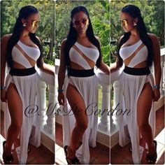 Delicia Cordons White Swimsuit and Maxi Skirt