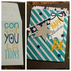 Stampin Up Bravo, Celebrate Today, and mini treat bag thinlets