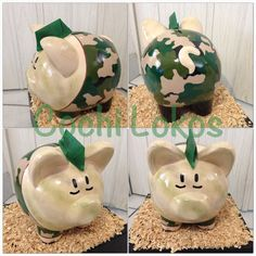 Alcancía decorada de militar Cute Piggies, Piggy Banks, Ely, Diy And Crafts, Coffer, Music Artists, Toe Nail Art, Pigs, Gloves