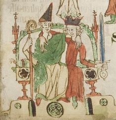 beginning of the century Eastern Central Germany Universitätsbibliothek Heidelberg Heidelberger Sachsenspiegel fol. Medieval Life, Medieval Fashion, Medieval Art, High Middle Ages, Medieval Paintings, Early Modern Period, Her Majesty The Queen, Gothic Art, Historical Costume