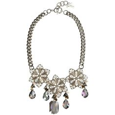 Silver bib necklace with crystals and beads (€210) ❤ liked on Polyvore featuring jewelry, necklaces, chain necklace, pink necklace, silver charms, white bib necklace and silver charm necklace