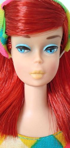 1966 Color Magic Barbie 1150 - Hair Color: Midnight AND Ruby Red - Bendable Legs - Mattel - Close Up Face - Rarest Barbie Go, Malibu Barbie, Barbie Hair, Barbie Skipper, Barbie Life, Vintage Barbie Dolls, Barbie World, Barbie And Ken, Barbie Clothes