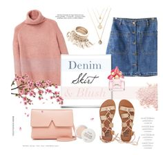 """""""Denim Skirt + Blush"""" by alexandrazeres ❤ liked on Polyvore featuring Vince, Chicnova Fashion, MANGO, Post-It, Bare Escentuals, Fresh, Marc Jacobs, Billabong, contest and blush"""