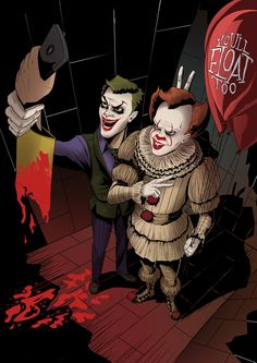 Pennywise And The Joker Taking A Photo With Gerogie's Ripped Off Arm Holding A Cell Phone. Es Pennywise, Pennywise The Dancing Clown, Le Clown, Creepy Clown, Horror Icons, Horror Art, Horror Movie Characters, Horror Movies, Iconic Characters