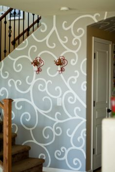 Hand painted wall paper, all with house paint.