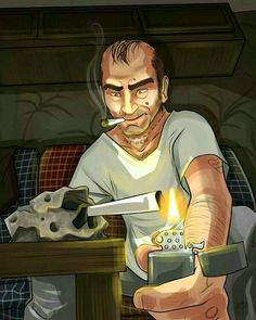 Drawn by me. Trevor really has no clue what he's doing as soon as he starts to smoke. It's a rock T, it's not going to enjoy that with you. Trevor Philips / GTA V San Andreas Grand Theft Auto, San Andreas Gta, Rockstar Games Gta, Game Gta V, Gta Pc, Gta Funny, Trevor Philips, Max Payne 3, Grand Theft Auto Series