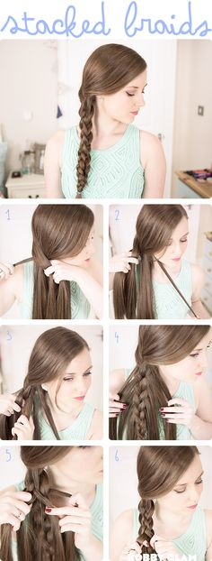 Long hair in stacked braids - make your braid thicker