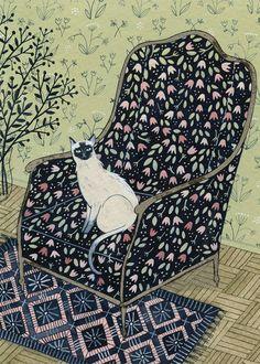 siamese cat print by ybryksenkova