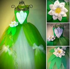 Green and White - tutu dress - Princess Tiana - Baby and Toddler up to 5T - via LanYapCrafts on Etsy