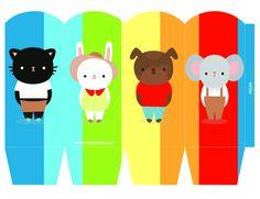 Kit imprimible de cumpleaños Arco Iris y Animales. por CumpleKits