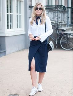 White shirt+navy+wrap midi skirt+white sneakers+black shoulder bag+navy bandana+sunglasses. Fall Casual Business Outfit 2016