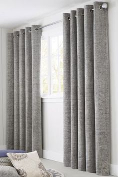 Living room grey curtains pin by on home decor in curtains grey curtains and family room curtains Grey Curtains Bedroom, Family Room Curtains, Lounge Curtains, Living Room Decor Curtains, Home Curtains, Curtains With Blinds, Bedroom Wall, Curtain Ideas For Living Room, Small Bedrooms
