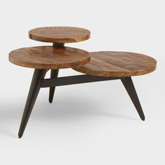 Wood And Metal Multi Level Coffee Table. I love that this is different, not your everyday coffee table. Would be cute used as a side table or nightstand too! Unique Coffee Table, Coffee Table Styling, Round Coffee Table, Coffee Table Design, Modern Coffee Tables, Round Tray, Furniture For Small Spaces, Living Room Furniture, Space Furniture