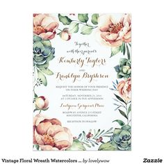 Vintage Floral Wreath Watercolors Fall Wedding Card Vintage floral wreath wedding invitation
