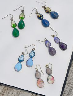 Made to order - so allow 7 days please. My teardrop earrings have been so popular for so long that I've come up with a twist on the design to make them even more exciting! two teardrops s. Pendant Earrings, Teardrop Earrings, Earrings Handmade, Handmade Jewelry, Sea Jewelry, Color Pop, Jade, Fashion Jewelry, Jewelry Design