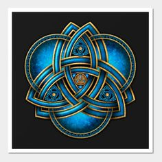 Stunning and unique doubled Celtic triquetra knotwork in sea blue and gold with triple rings on a flared blue light and black background. Celtic Triquetra, Celtic Art, Celtic Knots, Celtic Mandala, Irish Celtic Symbols, Celtic Crosses, Mayan Symbols, Celtic Dragon, Viking Symbols