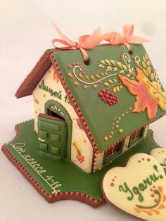 Купить Пряничный домик осенний - пряничный домик, осень, день учителя, пряник расписной