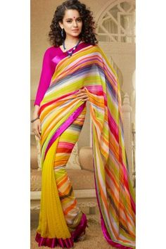 Designer Chiffon with Faux Georgette Pink and Yellow Bollywood Saree