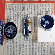First stage of resin cyanotype jewellery:-)