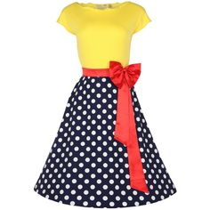 Lindy Bop Women's Yvette' 1950's Parisian Pinup Dress ($49) ❤ liked on Polyvore featuring dresses, vintage, polka dot, blue dress, holiday party dresses, night out dresses, blue polka dot dress and polka dot pinup dress