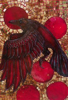 Corvus / Crow / Raven / Bird / Animal Art Print by Lynnette Shelley Mosaic Birds, Mosaic Art, Mosaic Glass, Raven Bird, Red Raven, Crow Art, Jackdaw, Crows Ravens, Fauna