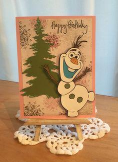 Girls Olaf-Frozen Birthday Card / Made with Cricut Disney Frozen Cartridge / Handcrafted By Cindy Babich (Cindyswishestogive 2016)