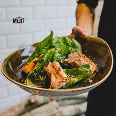 Salmon with fresh spinach in sesame sauce #meatrestaurant #beatgroup #steakhouse #steaks #meat #meatbybeat #baku #azerbaijan #restaurants #food #cuisine #studiobelenko #belenko #design #beef #veal #bestrestaurant #salmon #spinach #sesamesauce