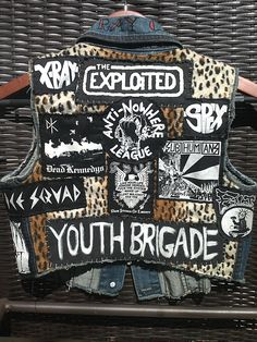 Wanted one since high school -- FINALLY got it!!!  W/my bands, too!!!Custom Punk Denim Vest by KattsKoffin on Etsy. $140.00, via Etsy.