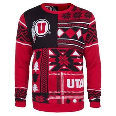 Utah Utes Patches Ugly Sweater - Red