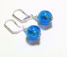 Murano glass aqua leverback earrings