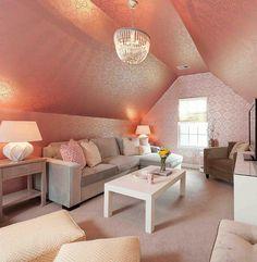 Heather O'Donovan Interior Design - Lounge & media living room with pink medallion ...
