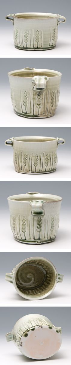 Anne Mette Hjortshøj:    Medium Oval Dish with Handles  -  Porcelain. Ash glaze, salt fired    (Stamps Gather Glaze). I like this glaze