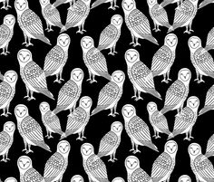 Halloween Owls - Black and White by Andrea Lauren fabric by andrea_lauren on Spoonflower - custom fabric