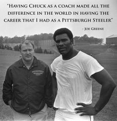 Two legends. Mean Joe Greene and Chuck Noll at training camp. They will be retiring this year & rightly so! Steelers Cheerleaders, Pitsburgh Steelers, Here We Go Steelers, Pittsburgh Steelers Football, Pittsburgh Sports, College Football, Chuck Noll, Pittsburgh Steelers Wallpaper, Joe Greene