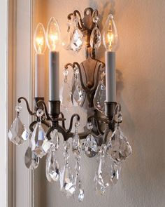Beautiful Crystal Sconce. Reminiscent of mom's.