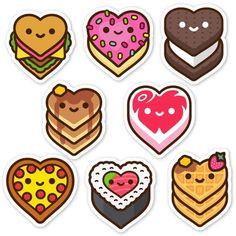8 die-cut vinyl stickers wide each Scratch & weatherproof Food Doodles, Kawaii Doodles, Cute Doodles, Kawaii Art, Flower Doodles, Kawaii Room, Kawaii Stuff, Kawaii Anime, Cute Food Drawings