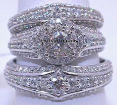 925 Silver Clear Round Cut 2.68 Ct Diamond Bridal Wedding Band set & Trio Ring #br925silverczjewelry #EngagementAnniversaryWeddingDailyWearParty