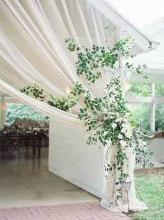 lush garden tented wedding with green galore