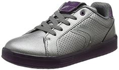 Geox J Kommodor a, Zapatillas para Niñas, Plateado (Dk Silver/Prune), 39 EU