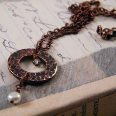 Hammered copper industrial pendant double-decker charm necklace