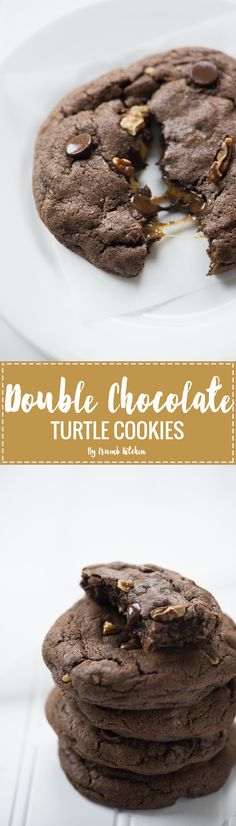 These rich, gooey Stuffed Double Chocolate Turtle Cookies are filled with chocolate chips, pecans, and a chunk of pure caramel. | Crumb Kitchen