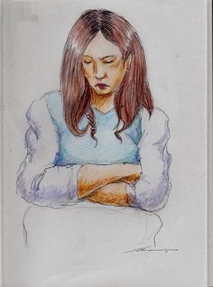 It is a sketch of the woman of brown hair winding.  I drew on the train going to work.