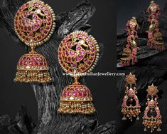 Embellish the beauty of tradition with this perfectly designed pair of ruby earrings that can leave you in awe. Traditional RUBY earring designs from JCS jewel creations. Gold Jhumka Earrings, Jewelry Design Earrings, Gold Earrings Designs, Ruby Earrings, Ear Jewelry, Antique Earrings, Designer Earrings, Pendant Jewelry, Bridal Jewelry