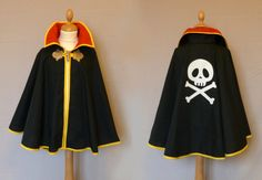 cape pirate noire rouge jaune 1 Plus Homemade Costumes, Diy Costumes, Cosplay Costumes, Halloween Cosplay, Halloween Costumes, Baby Couture, Couture Sewing, Dress Up Outfits, Kids Outfits